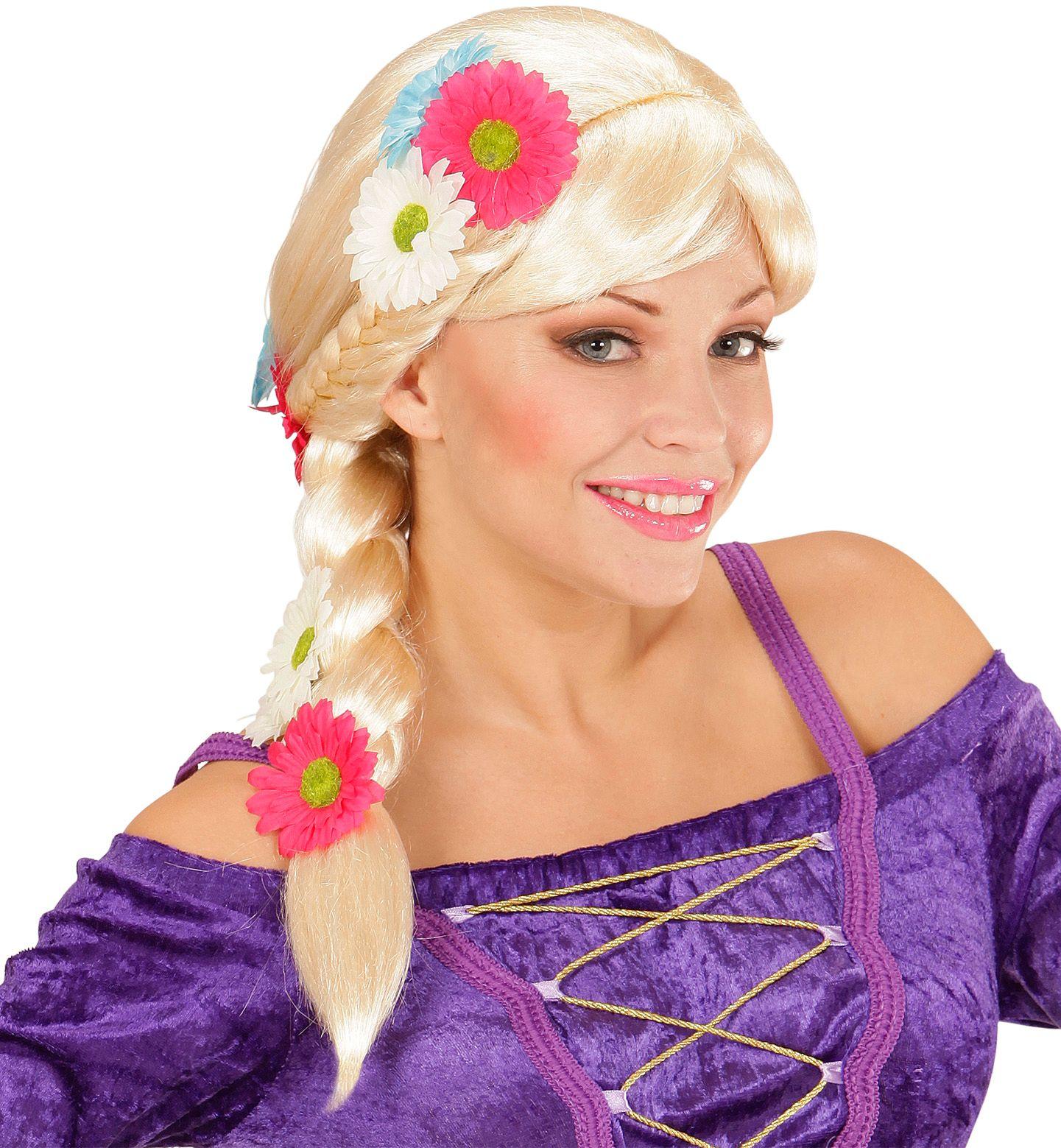 Rapunzel pruik met bloemen