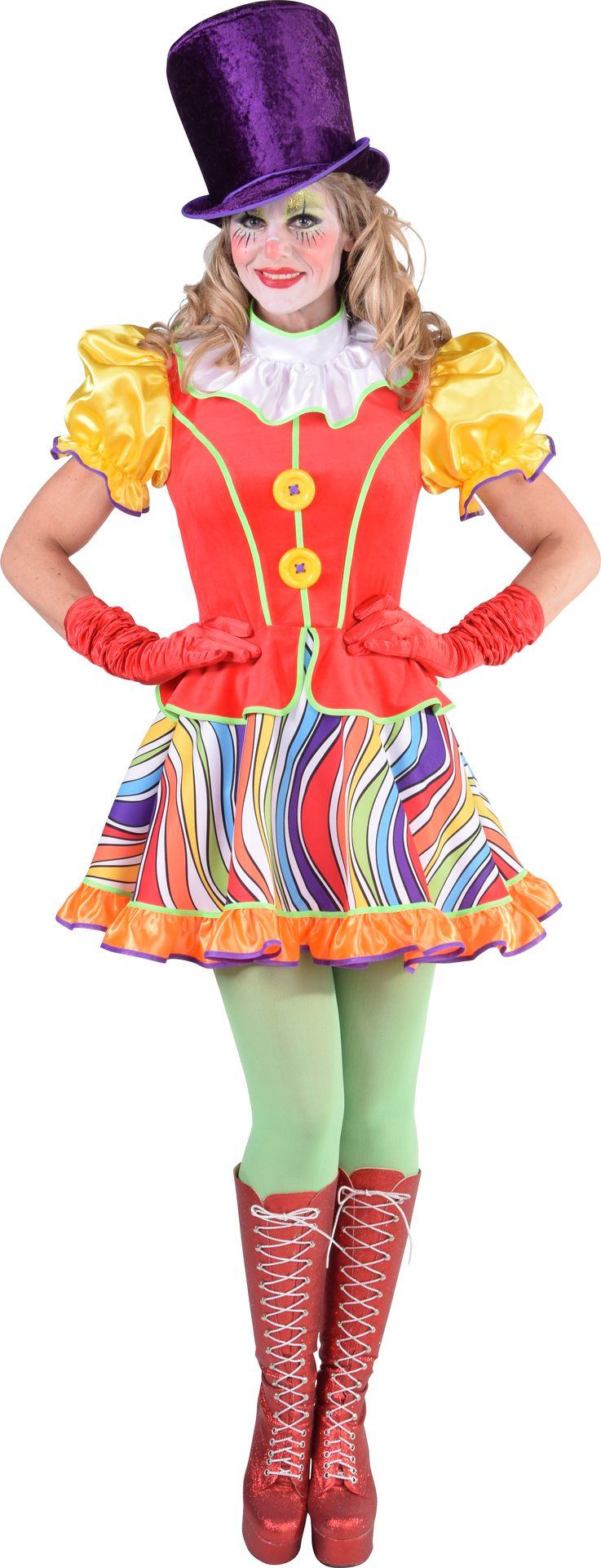 Regenboog clownsjurk dames