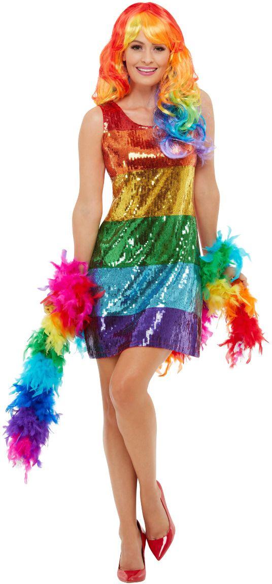 Regenboog pailletten glitter jurk