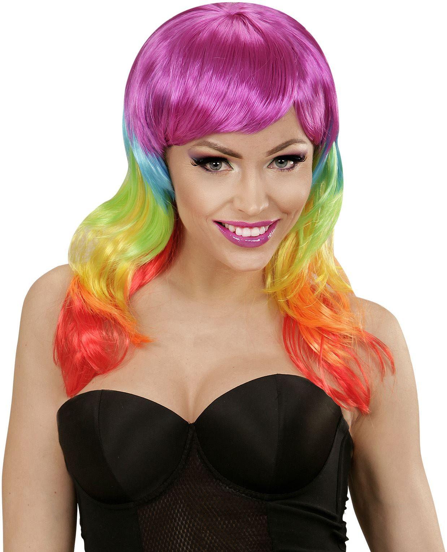 Regenboog pruik lang haar