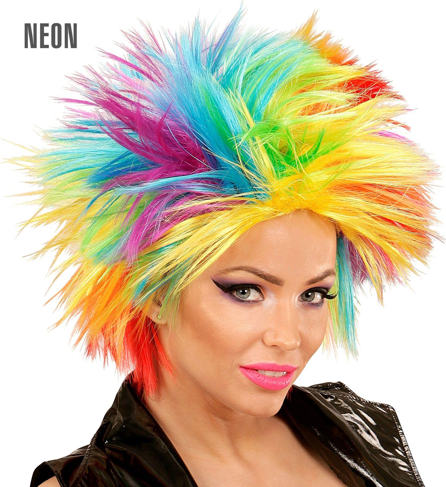 Regenboog punk pruik