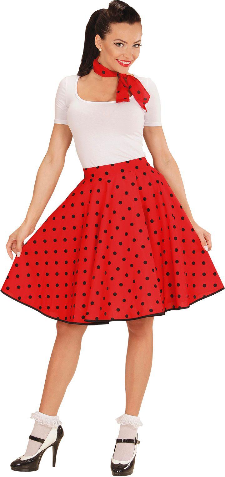 Rode 50s rok met nekband