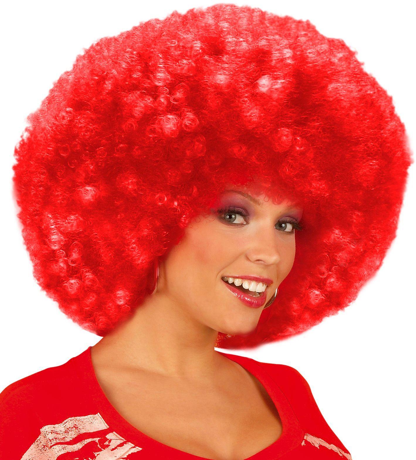 Rode afro pruik met krullen