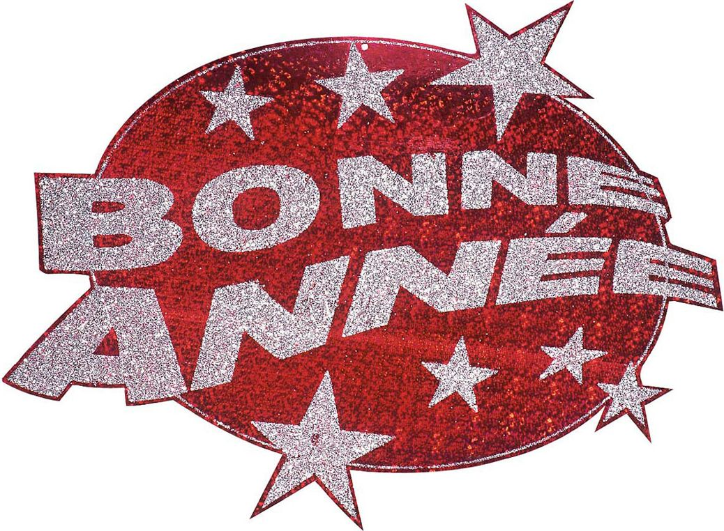 Rode Bonne Anneé glitter decoratie