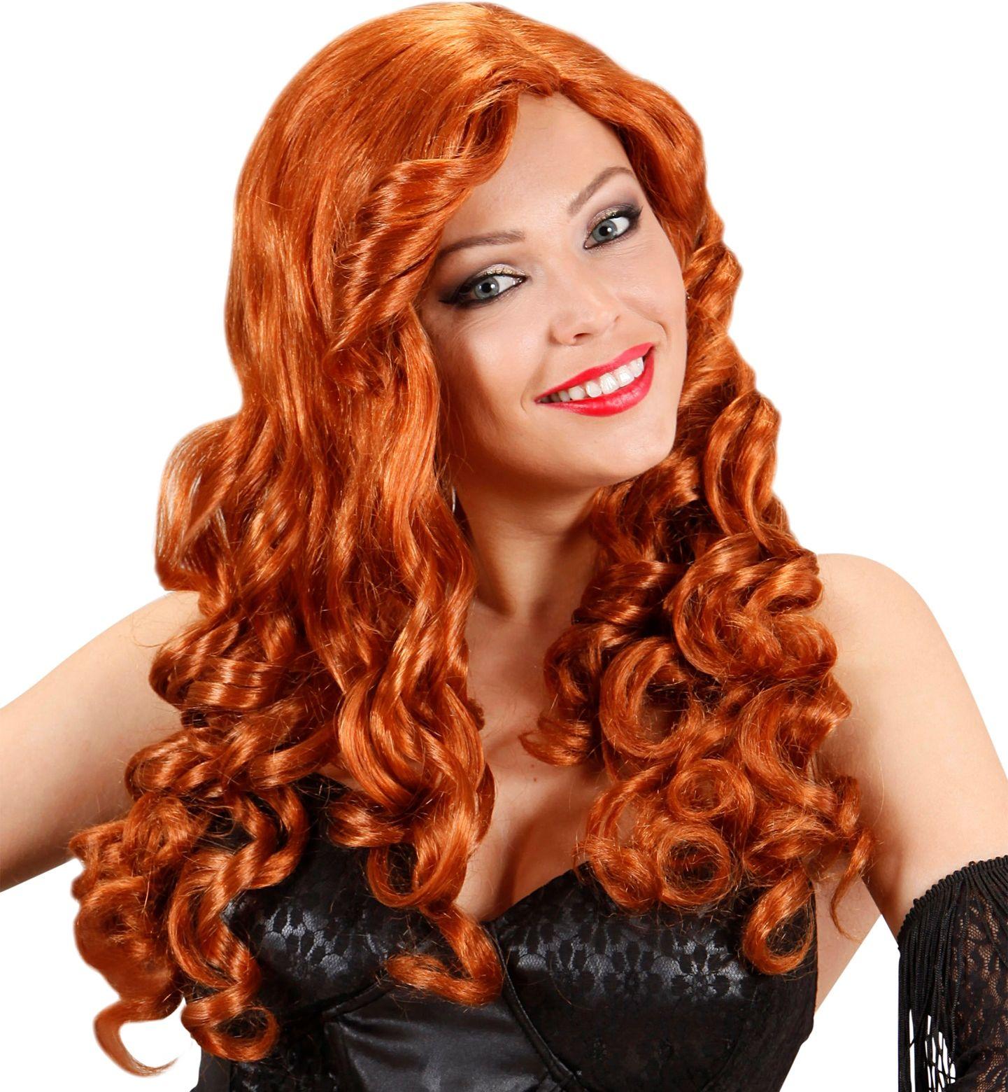 Rode burlesque pruik