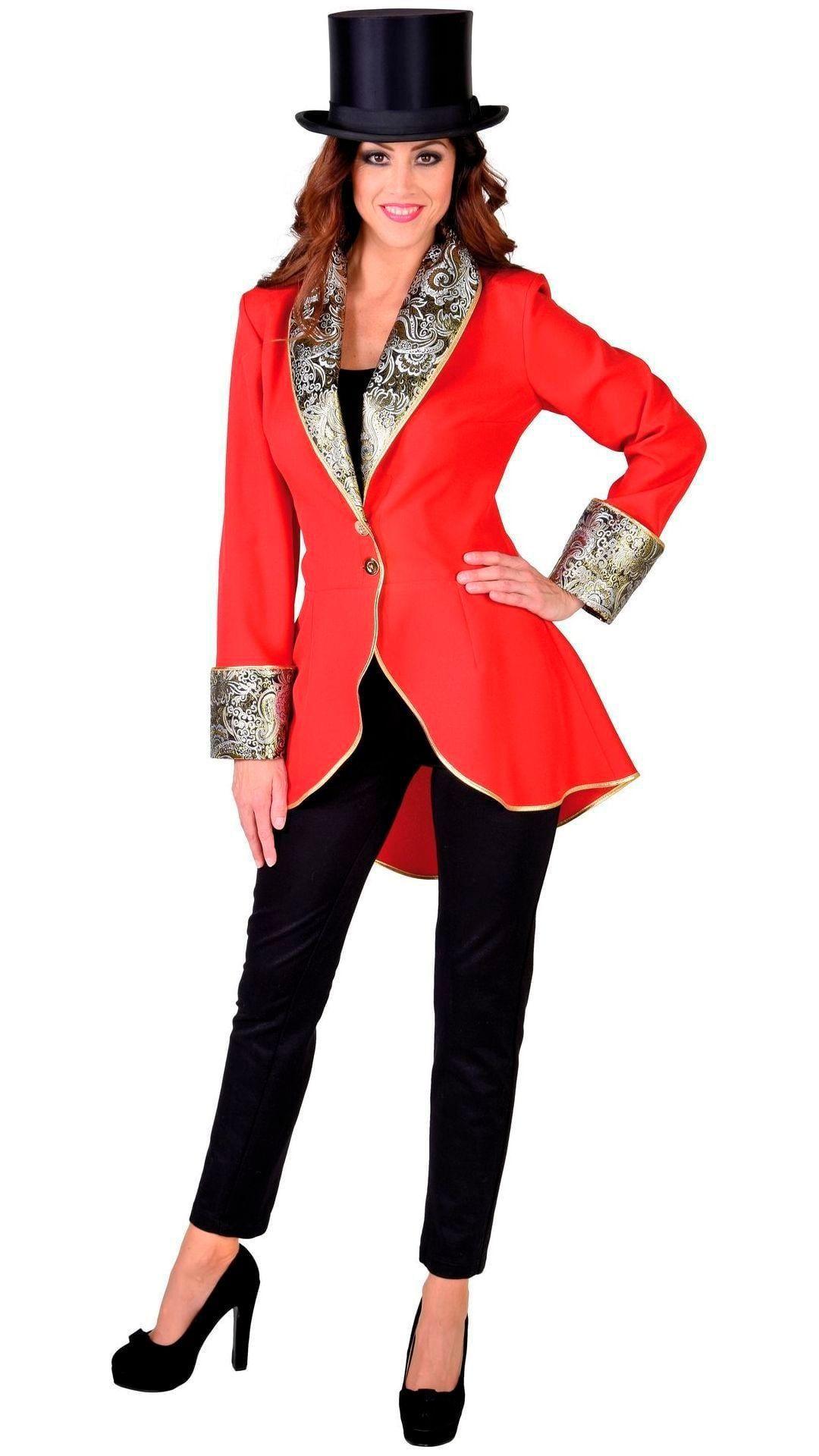 Rode carnavalsjas vrouw