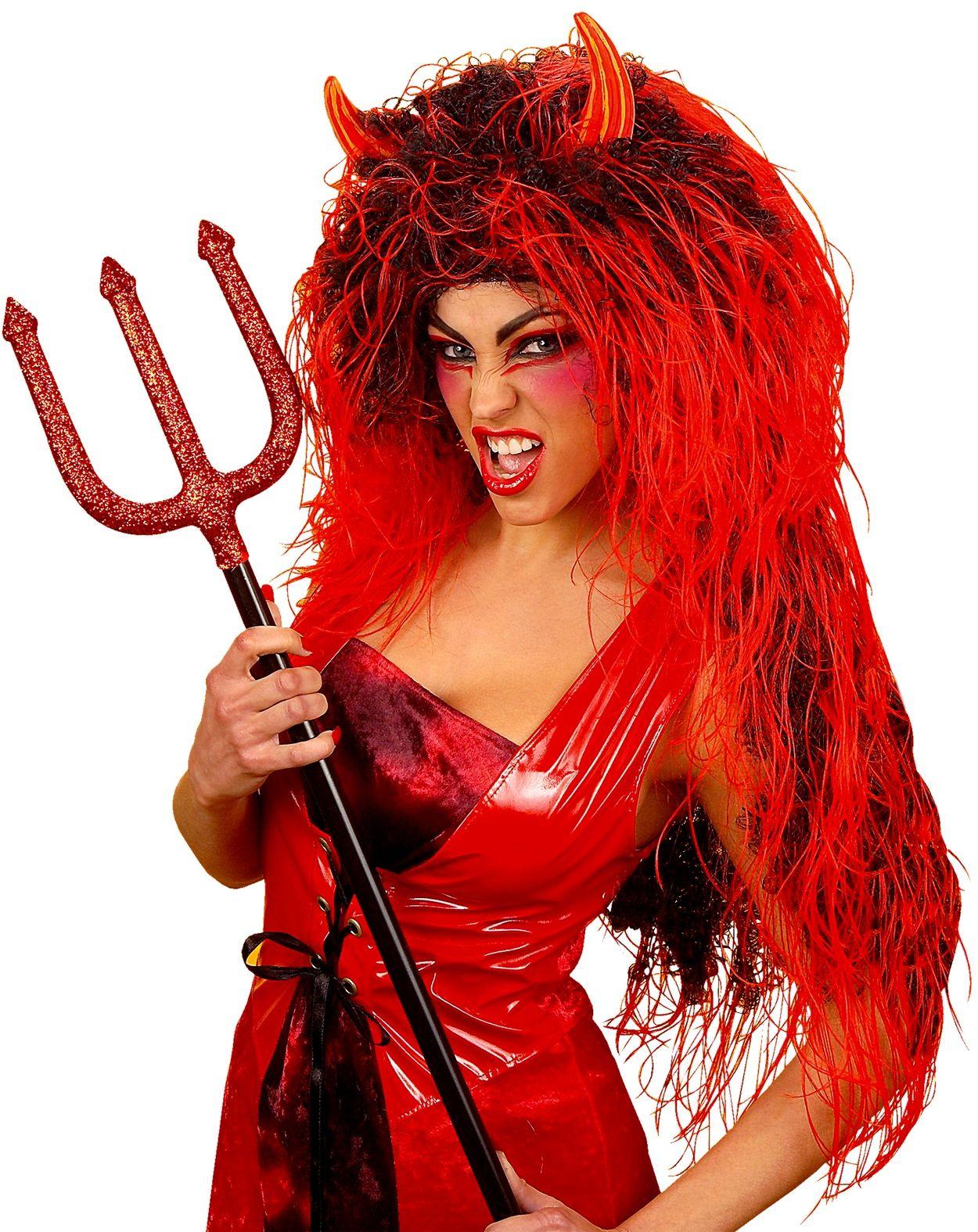 Rode duivelse lange pruik