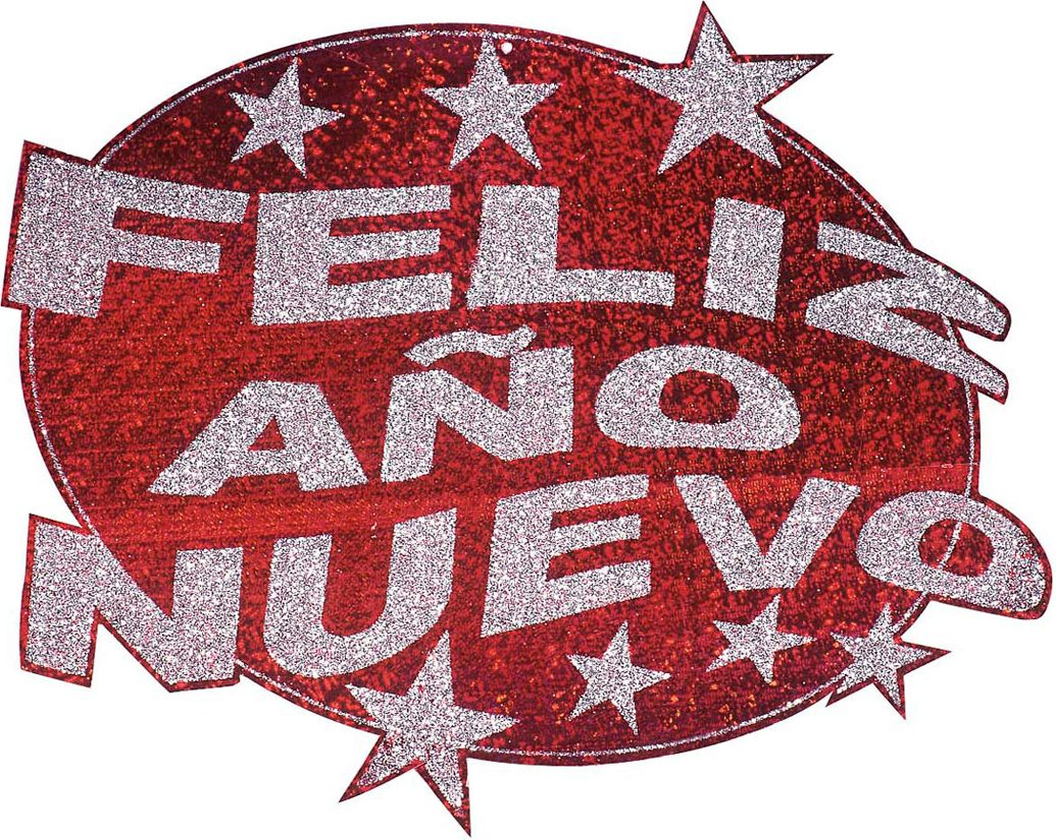 Rode Feliz Año Nuevo glitter decoratie