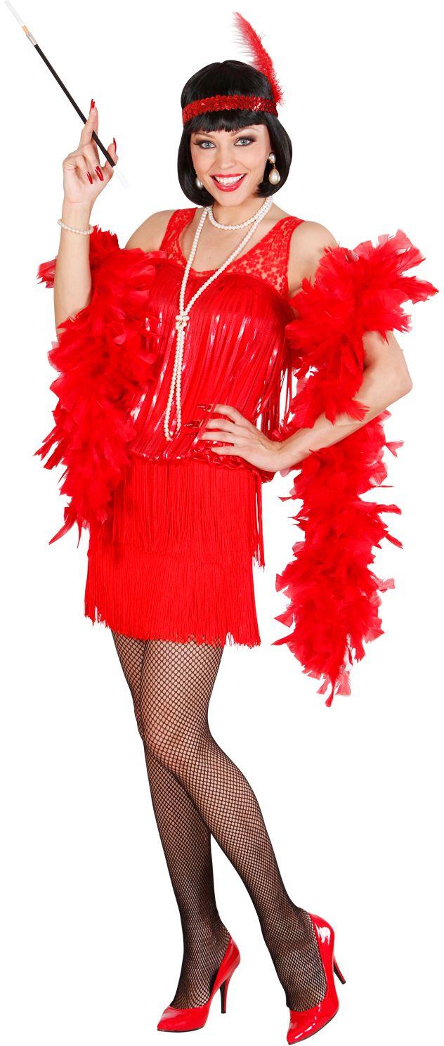 Rode flapper jurk jaren 20