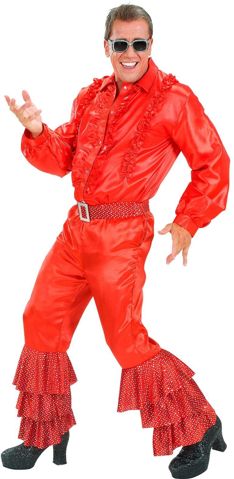 Rode fluwelen broek met pailletten