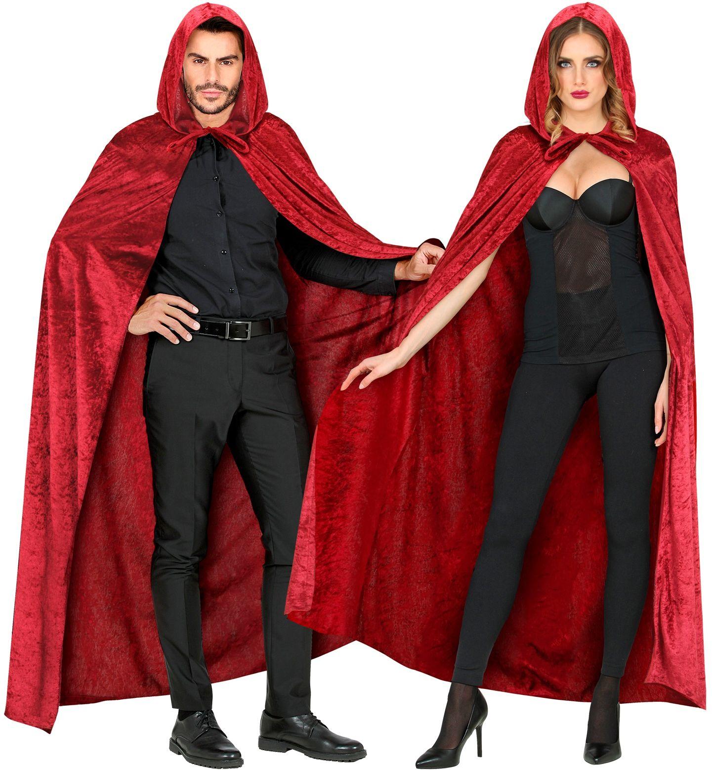 Rode fluwelen vampier cape