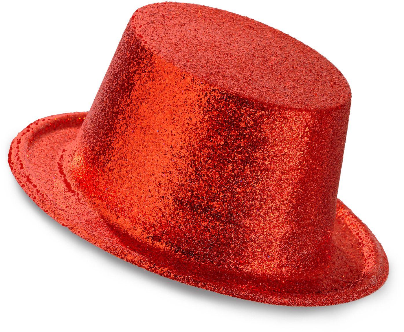 Rode glitter hoge hoed