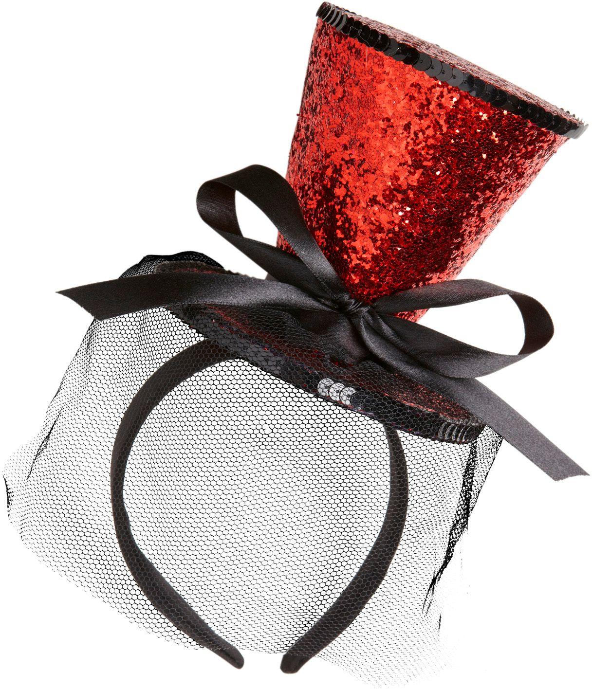 Rode glitter mini hoge hoed