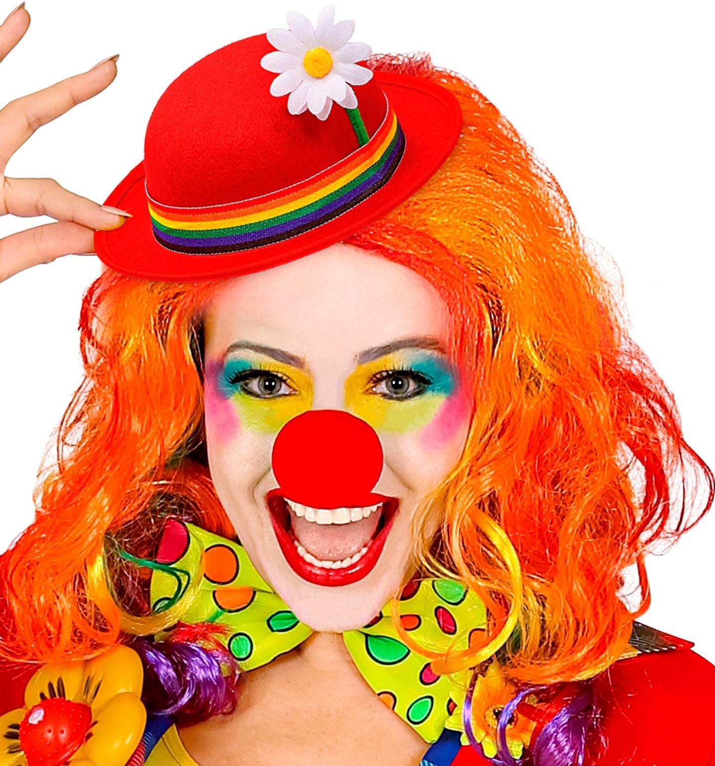 Rode hoed met regenboog band clowns