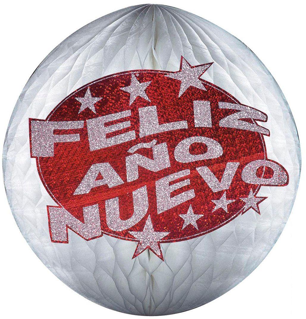Rode holografische Feliz Año Nuevo honinggraat bal