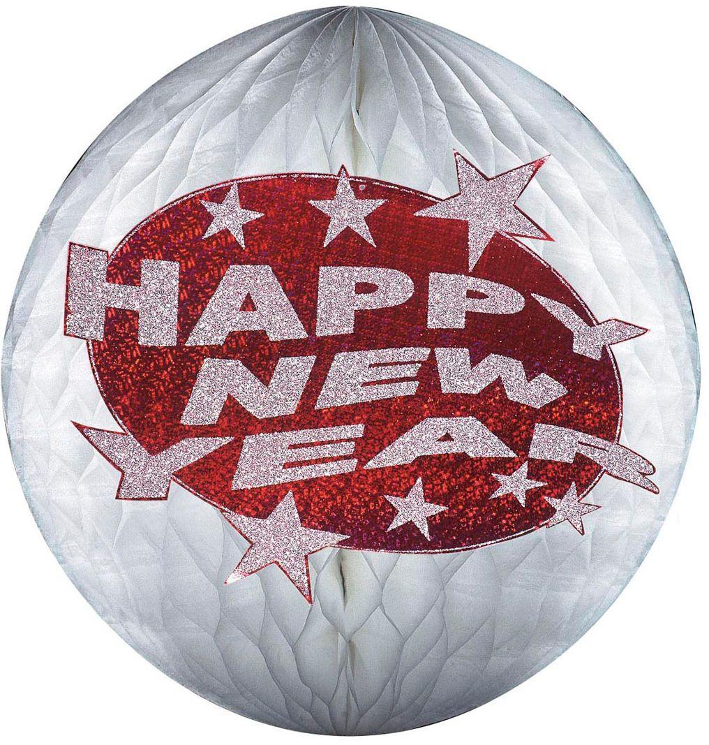 Rode holografische Happy New Year honinggraat bal
