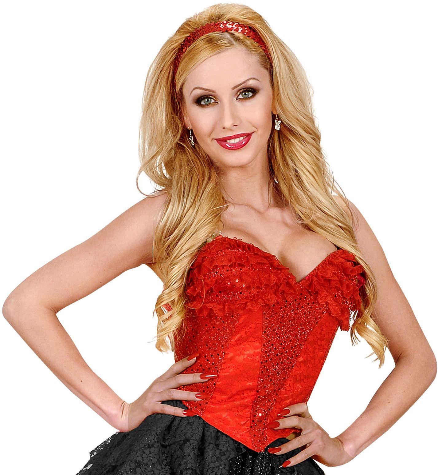 Rode kanten corset