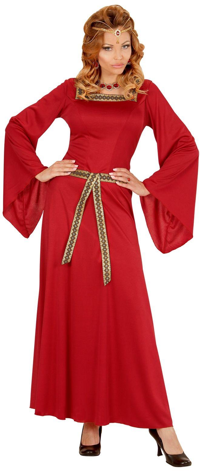 Rode kasteel vrouw jurk