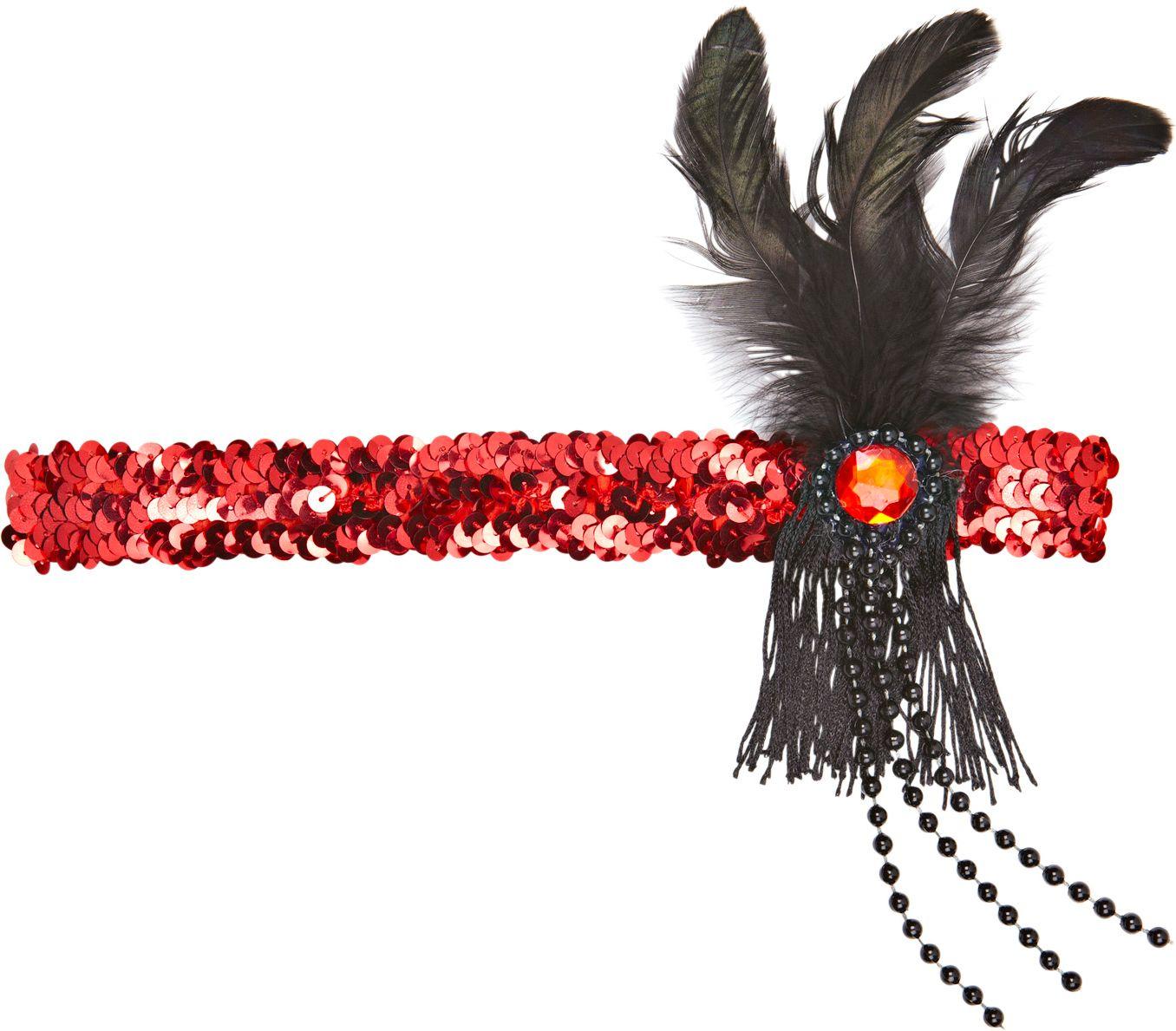Rode pailletten charleston hoofdband