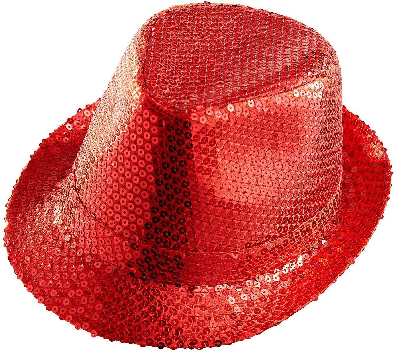 Rode pailletten fedora