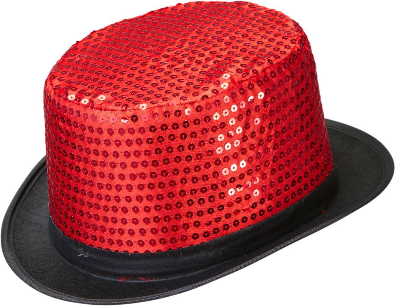 Rode pailletten hoge hoed