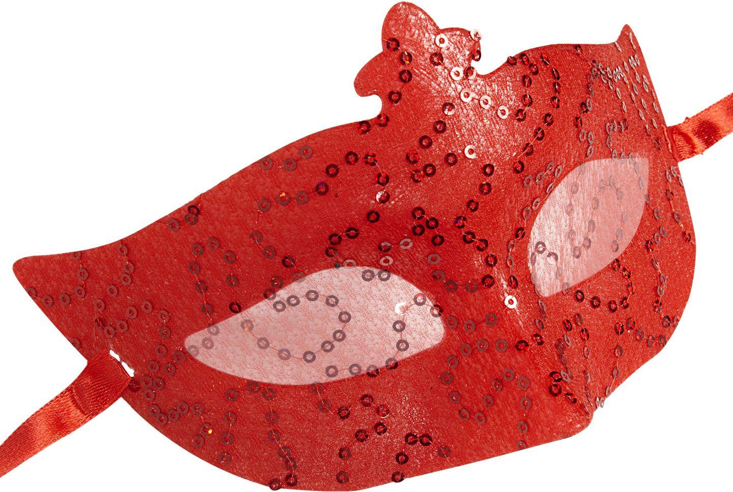 Rode pailletten kanten oogmasker