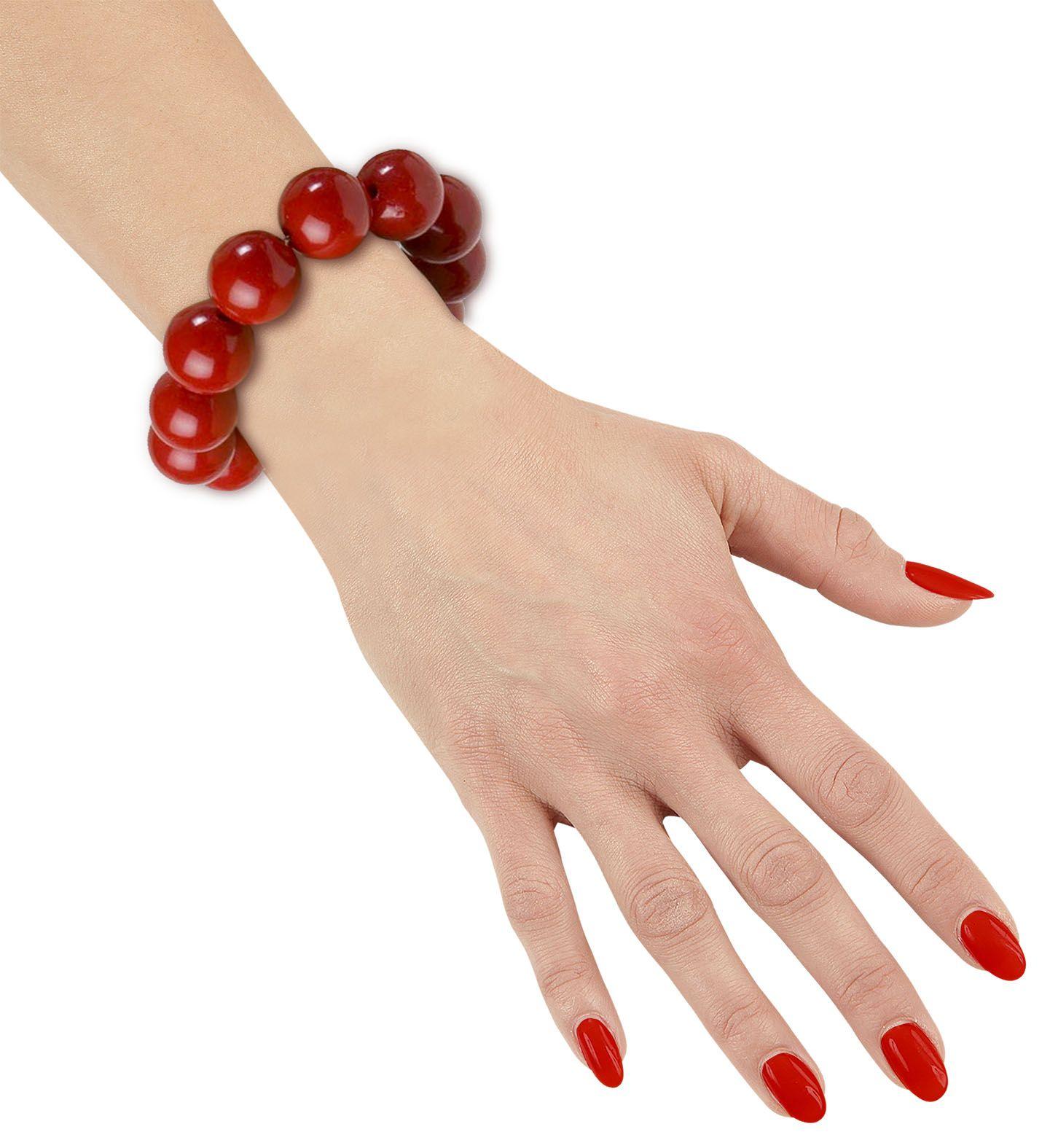 Rode parel armband jaren 50