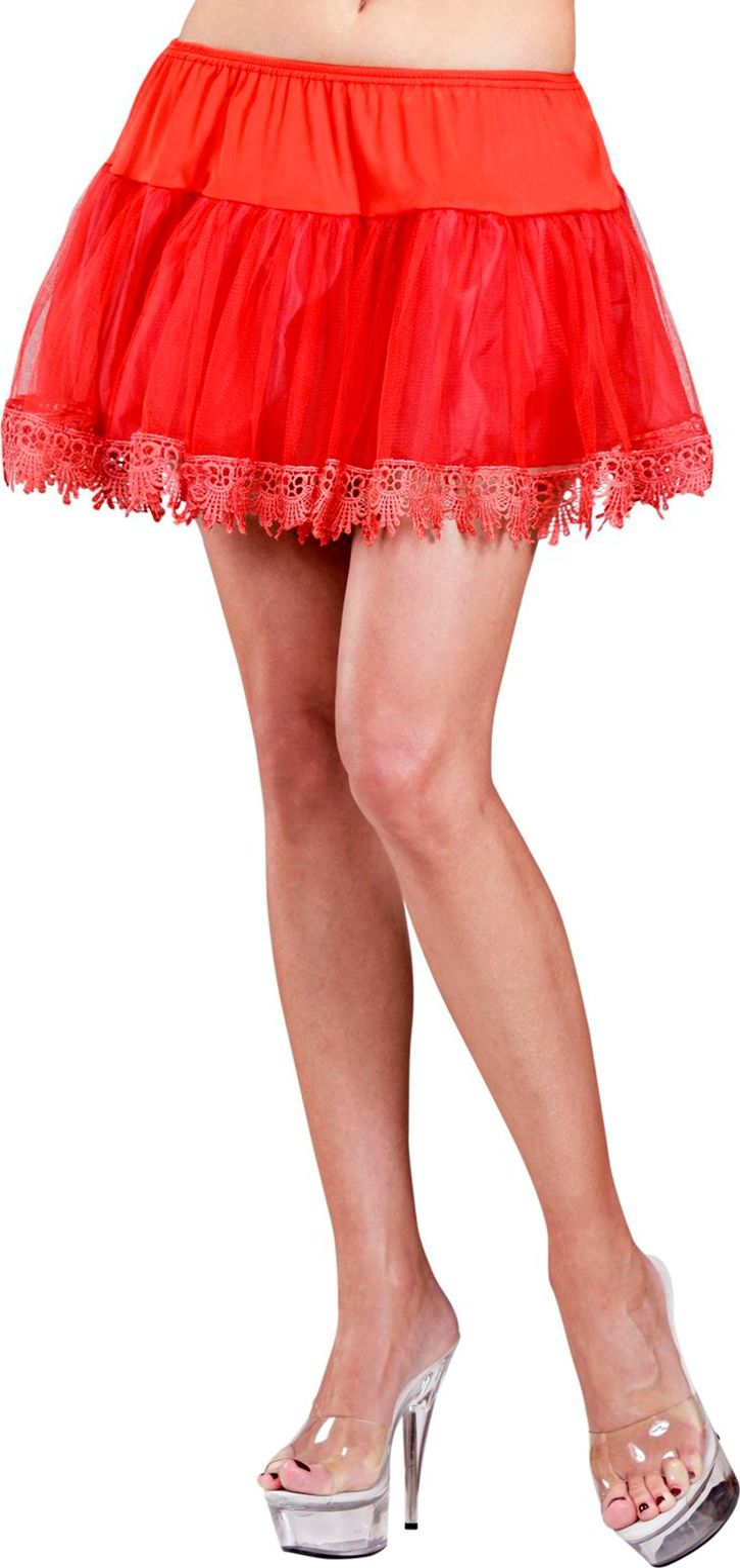 Rode petticoat met franje