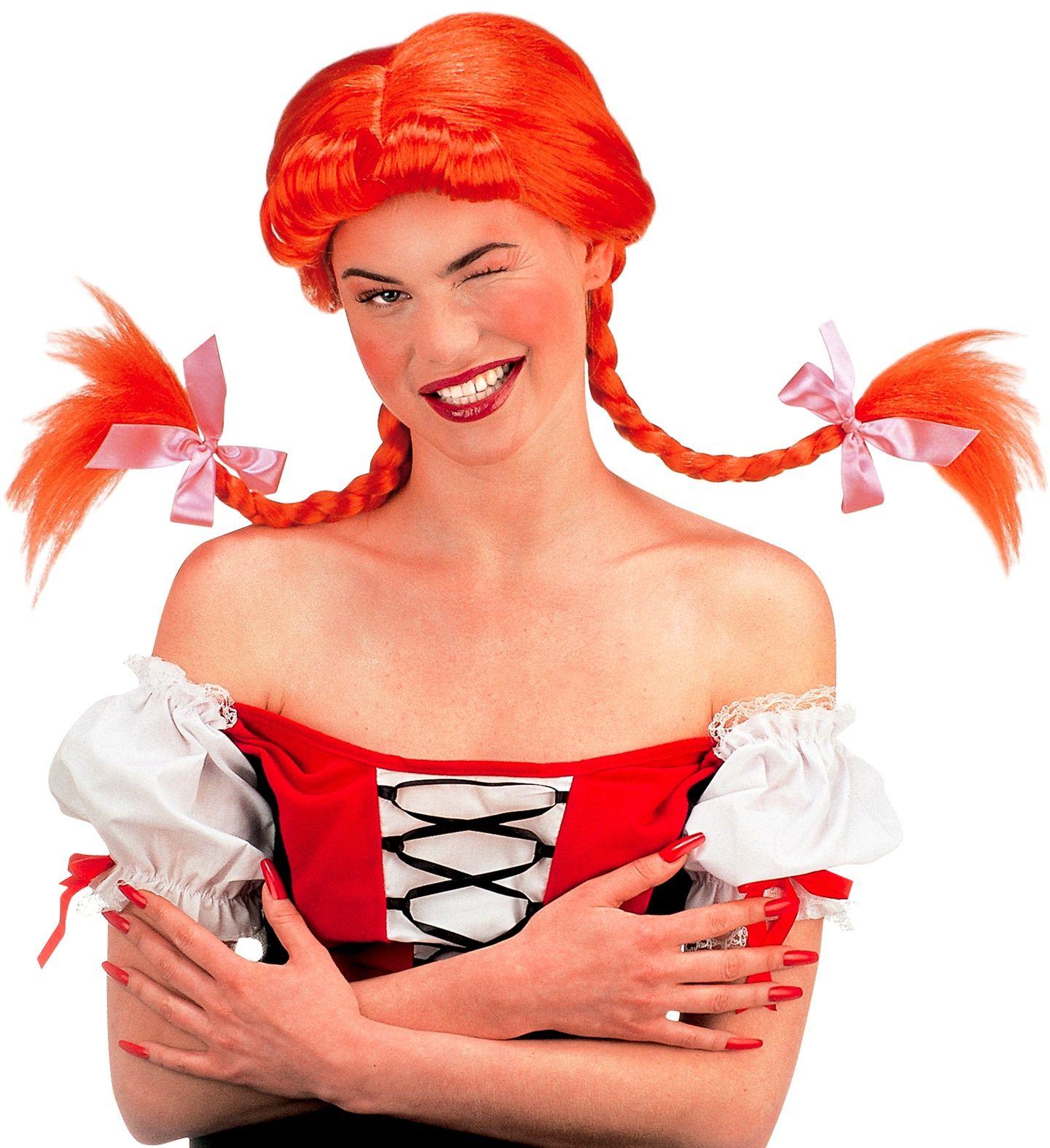 Rode Pippi Langkous kinder pruik