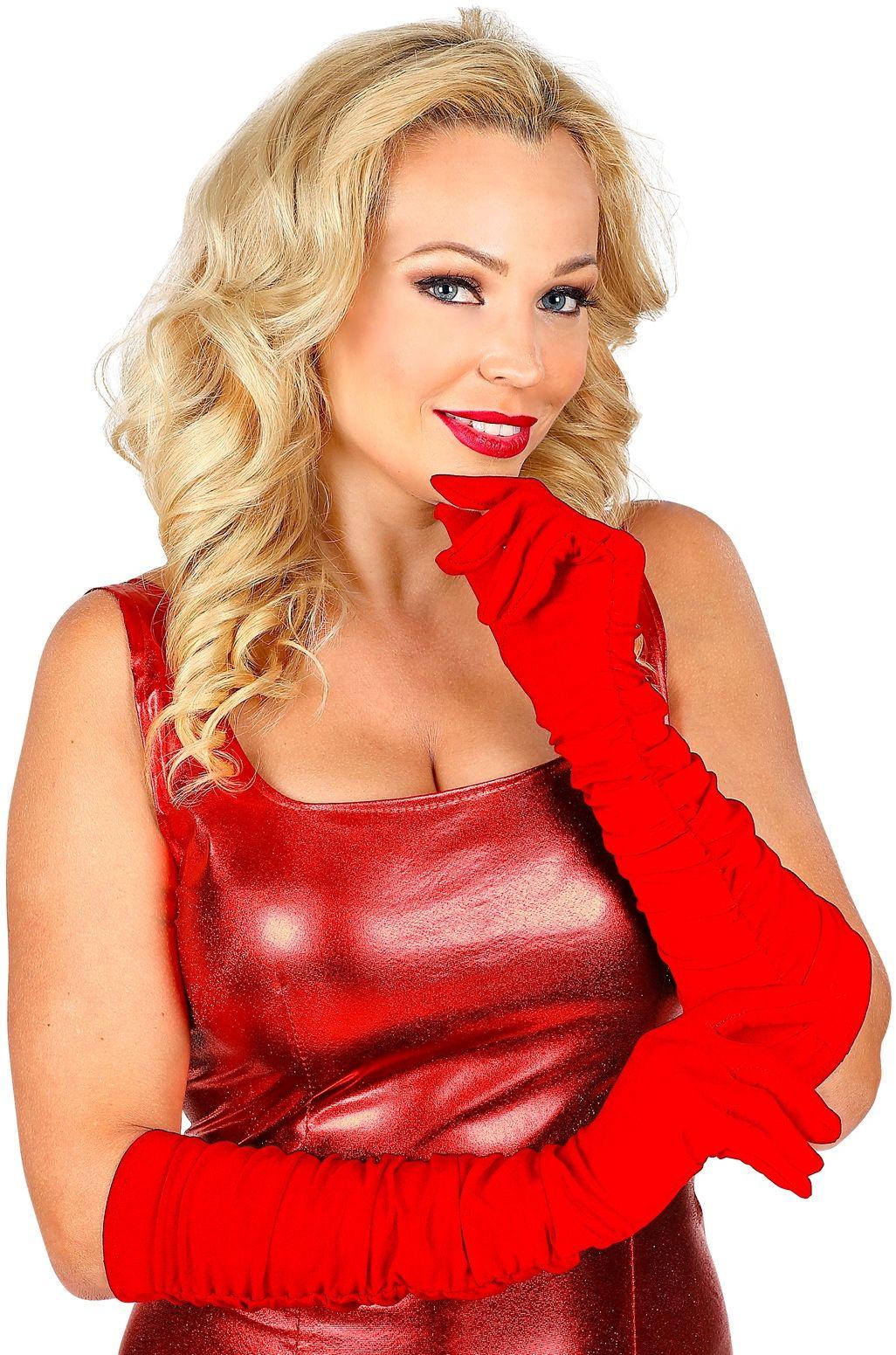 Rode plissé gala handschoenen