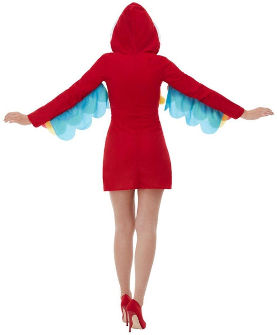 Rode pluche papegaaien jurkje