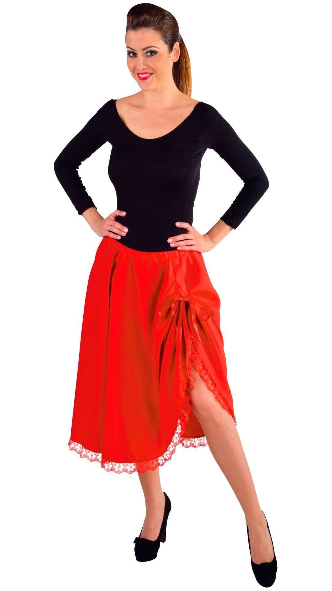 Rode rok met kant dames