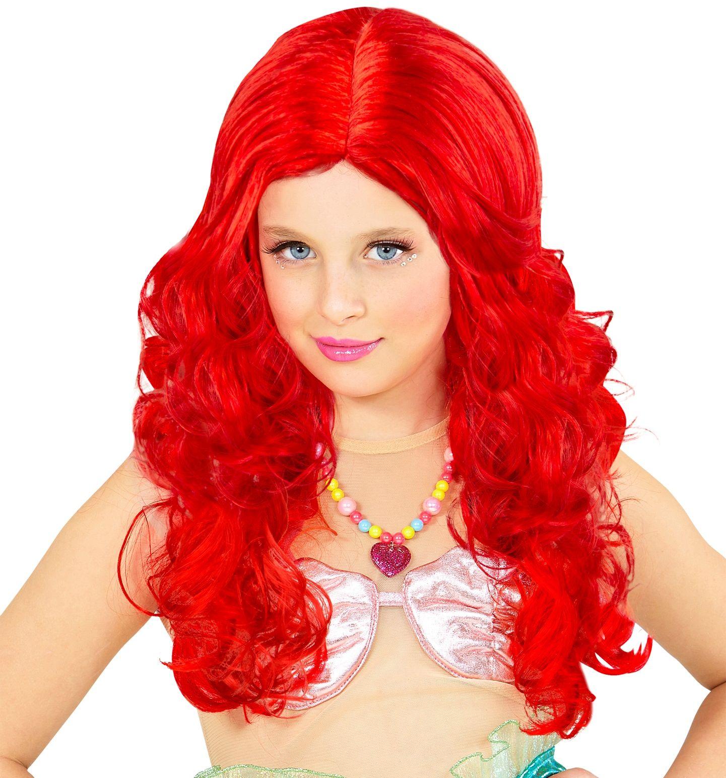 Rode zeemeermin pruik kind
