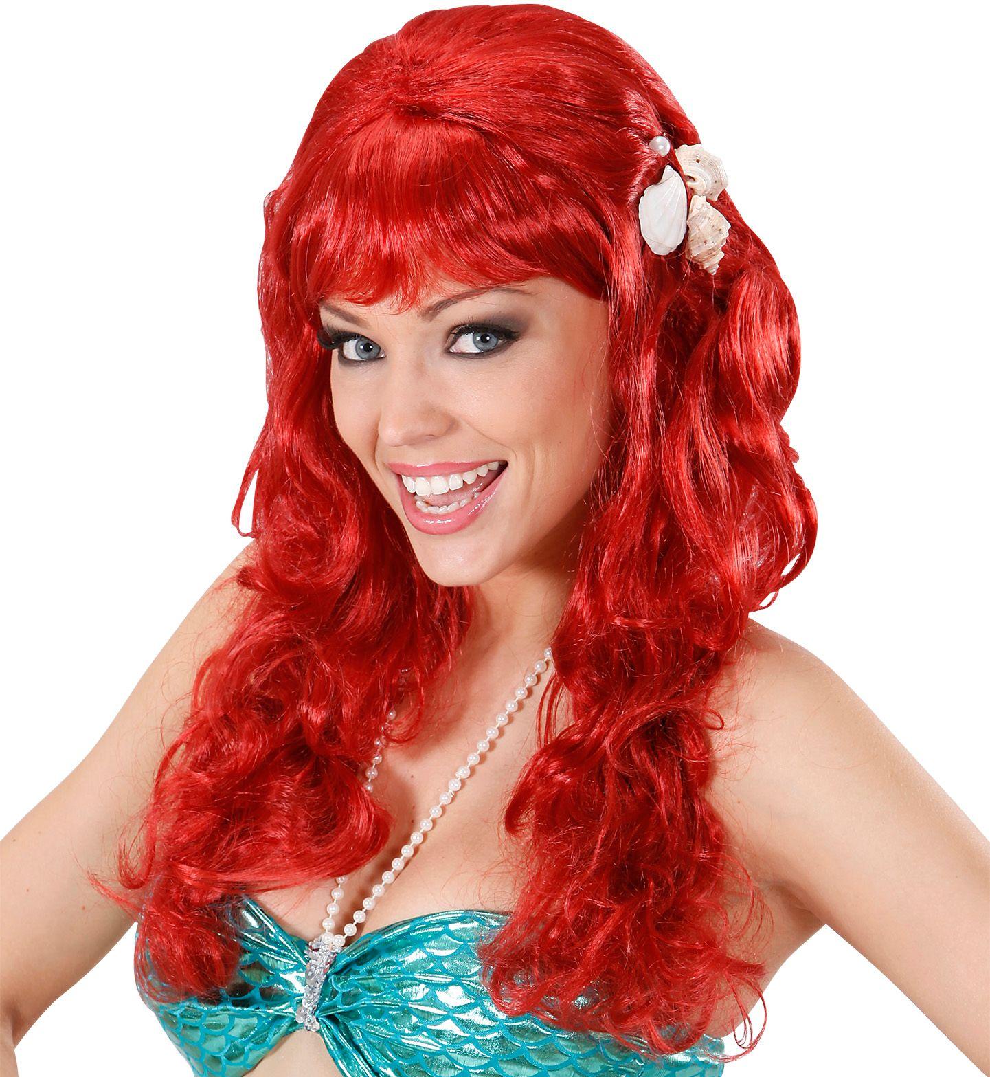 Rode zeemeermin pruik met schelpen