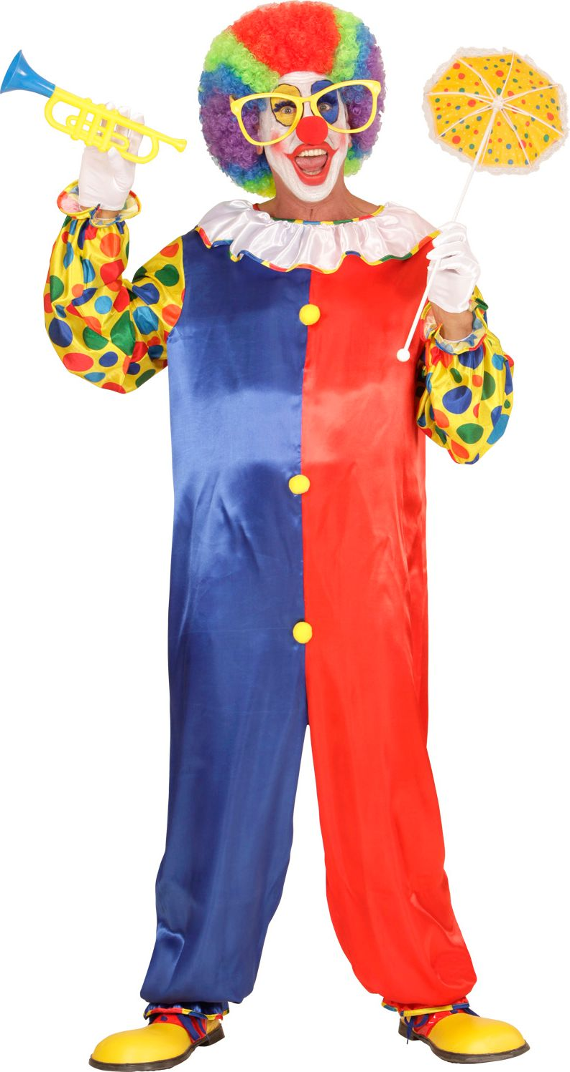 Rood blauw clown kostuum