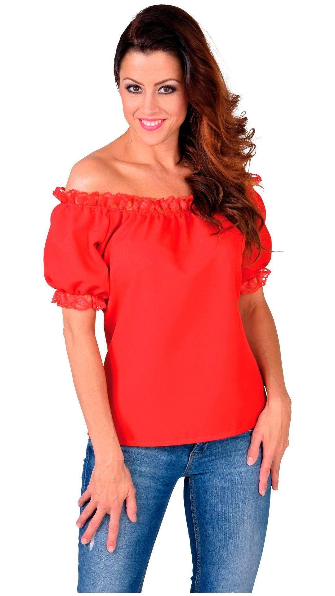Rood blousje met vrije schouder dames