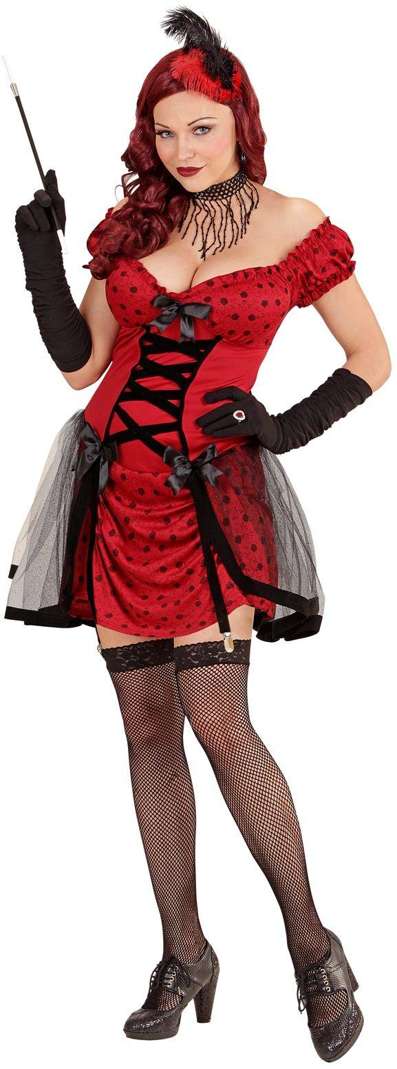 Rood cabaret vrouw kostuum