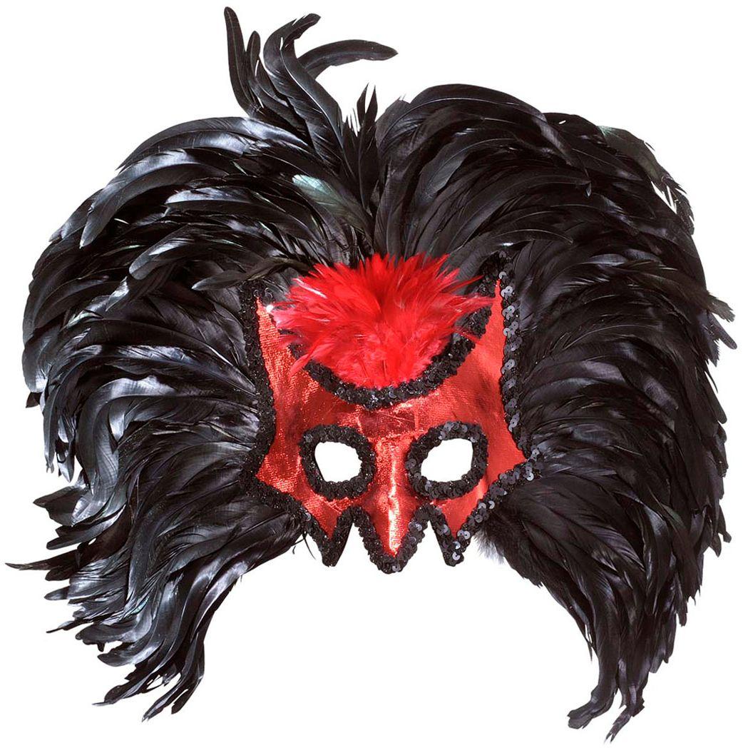 Rood duivel oogmasker met zwarte veren