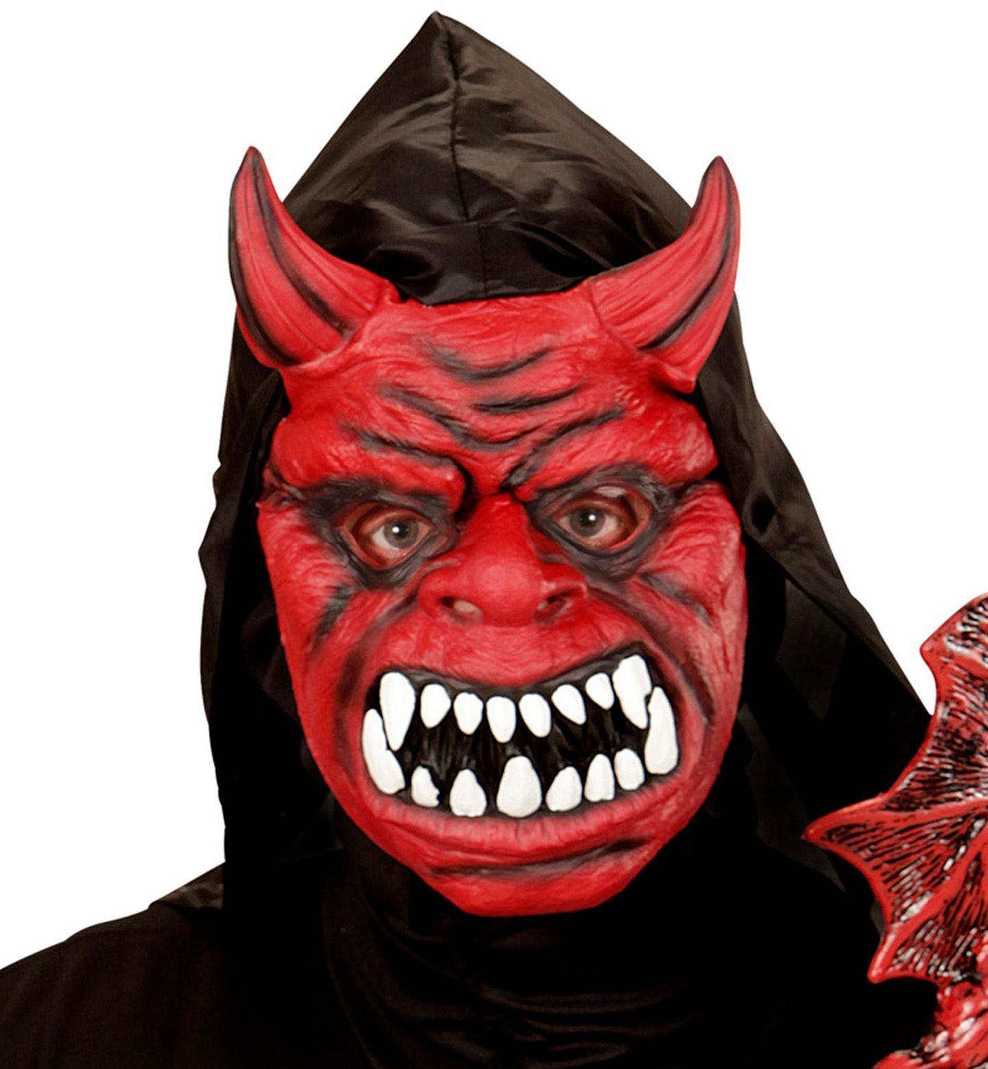 Rood duivelsmasker met kap