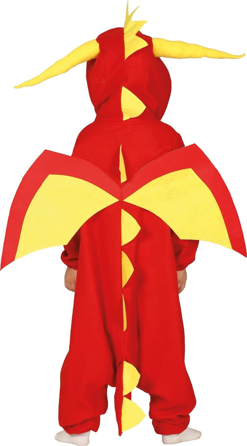 Rood gele draak kind kostuum