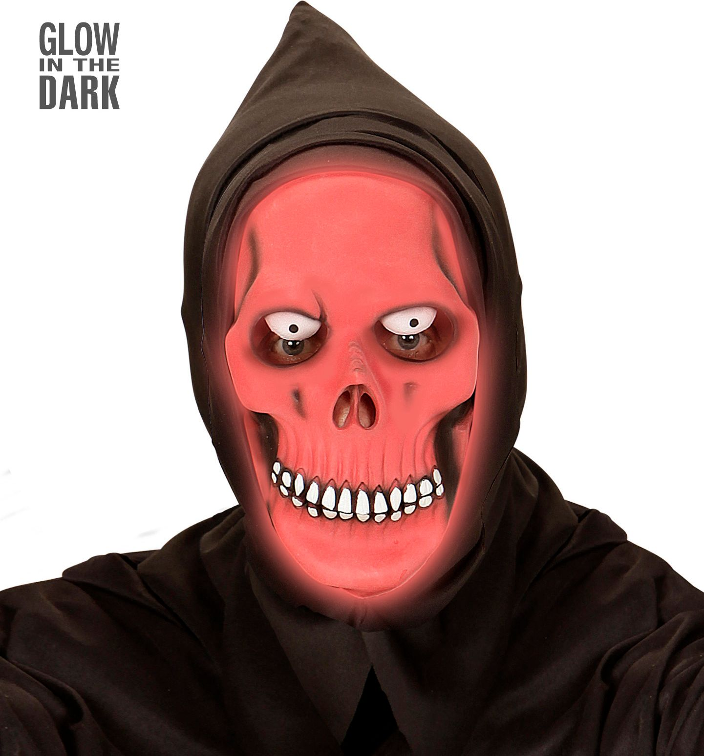Rood glow in the dark skelet masker