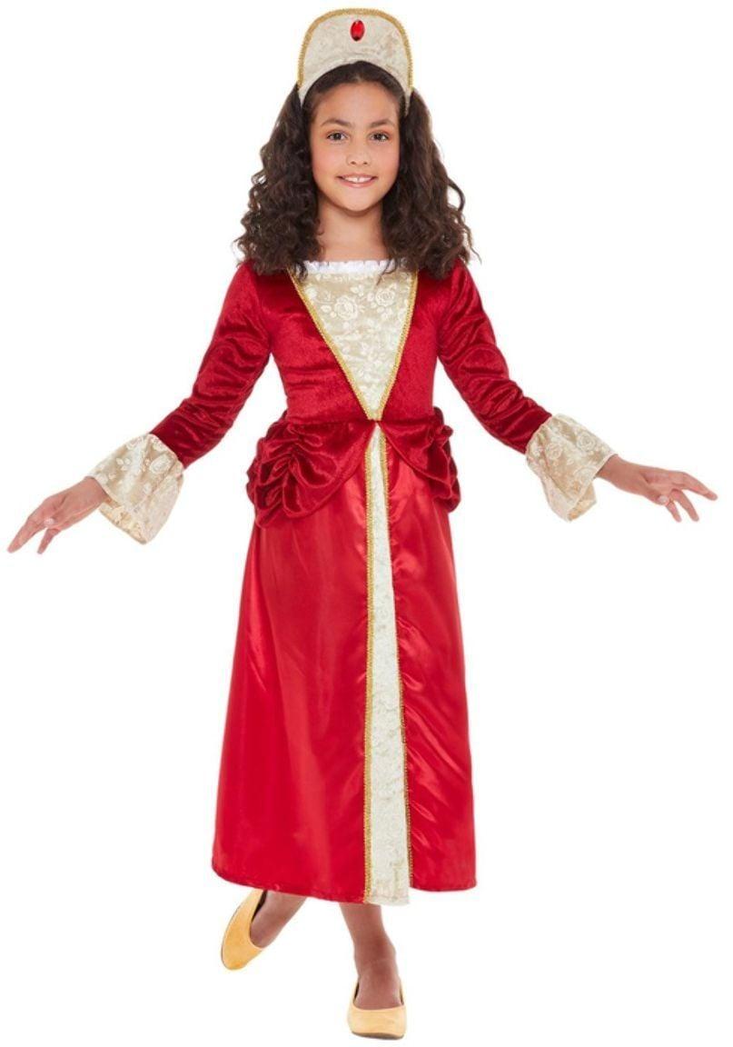 Rood goud middeleeuws kostuum meisjes