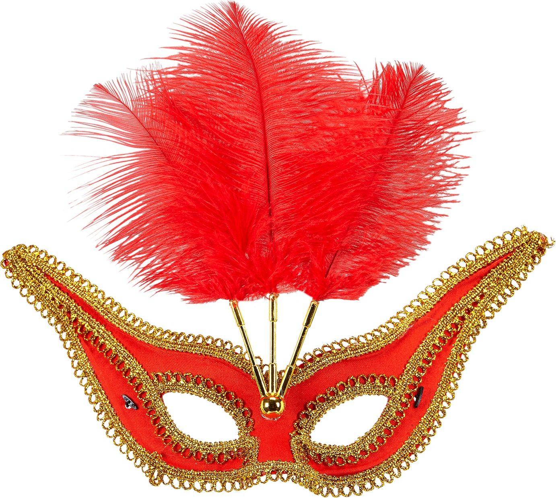 Rood oogmasker met gouden rand en veren