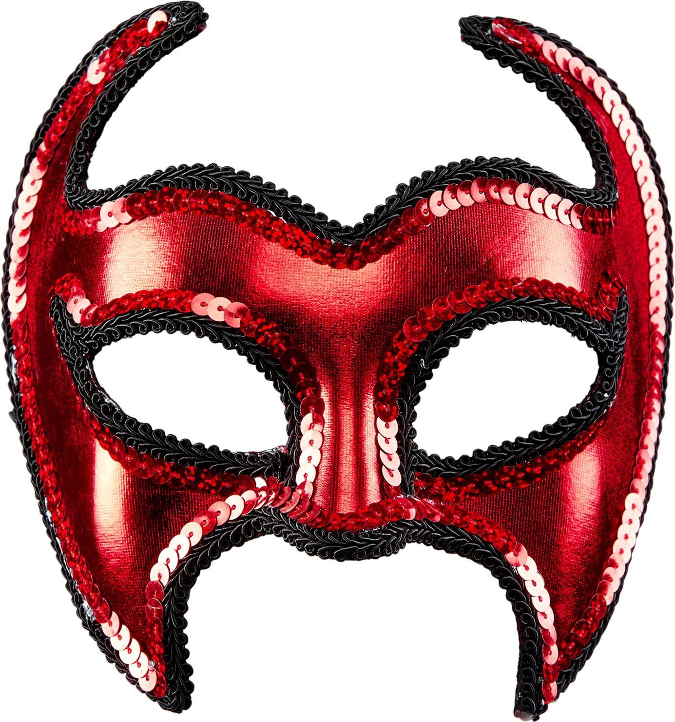 Rood pailletten duivel oogmasker