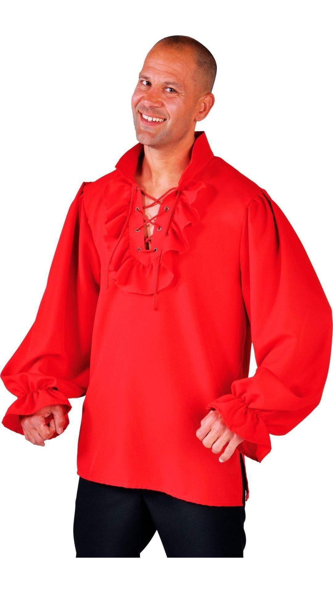 Rood piraten hemd heren