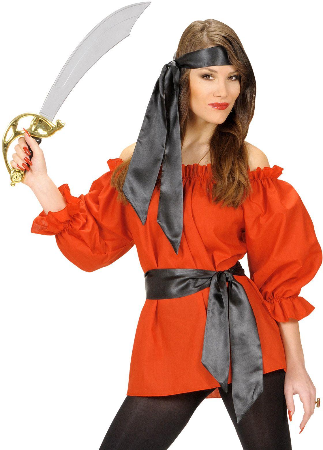 Rood piratenshirt dames