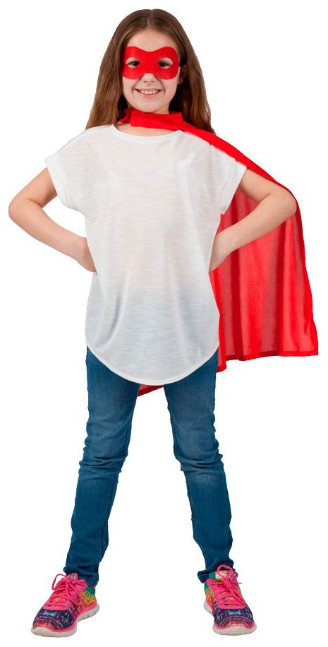 Rood superhelden masker met cape kind