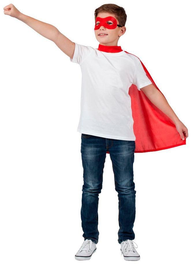 Rood superhelden masker met cape kind