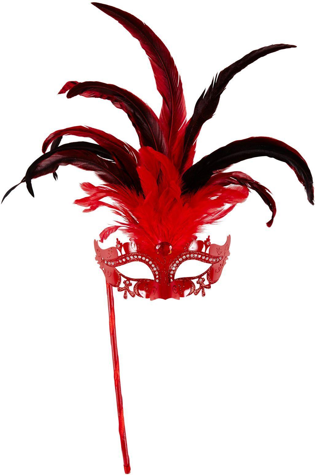 Rood venetiaans masker op stokje