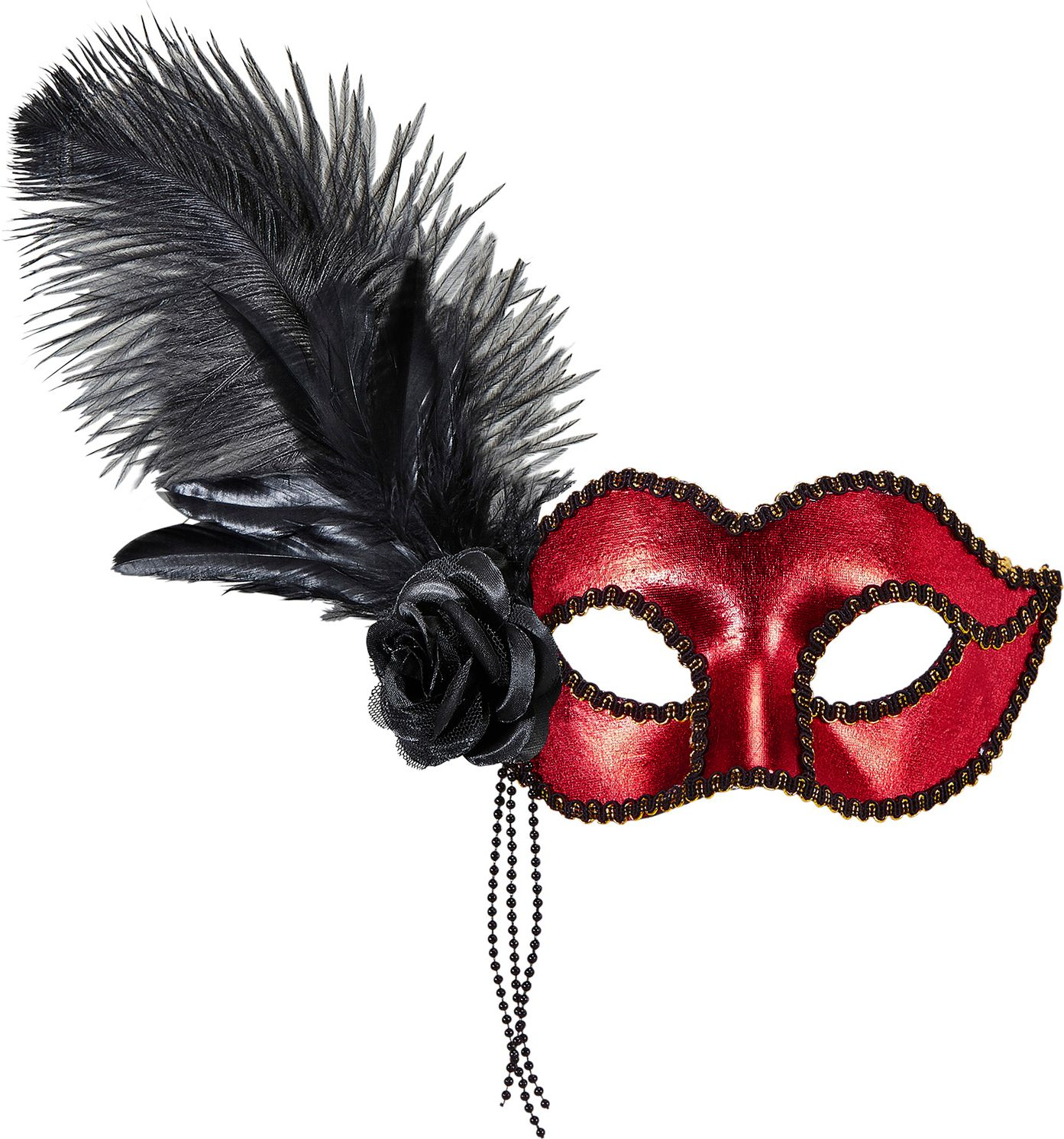 Rood venetiaans oogmasker met roos en veren